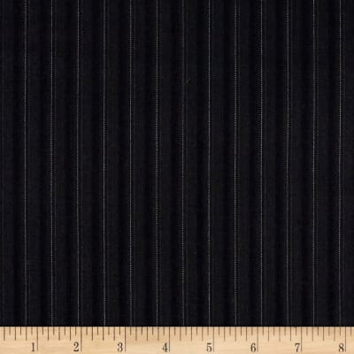 Pinstripe Super 130 Suiting Black