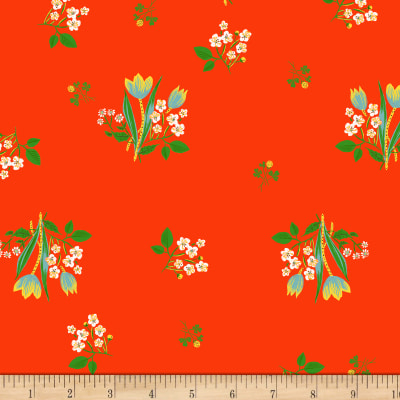 Heather Ross Kinder Spring Blooms Red