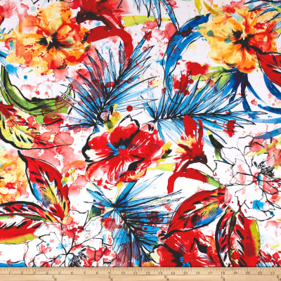 Telio Brazil ITY Stretch Knit Abstract Floral Red