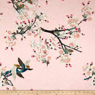 Telio Digital Linen Cherry Blossom Bird Pink