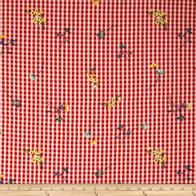 Telio Peyton Crepe de Chine Gingham Floral Red