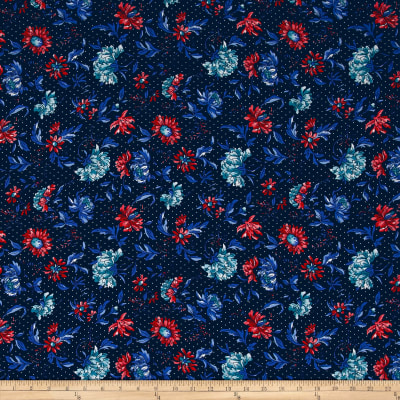 Telio Picasso Rayon Poplin Floral Dot Navy