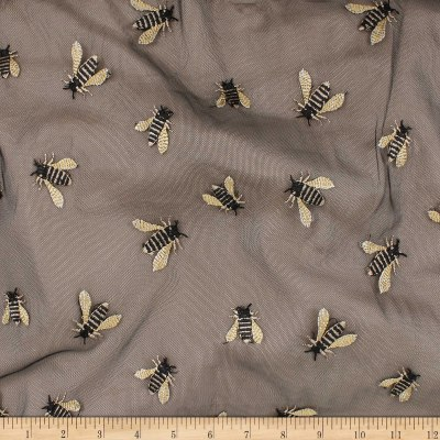 Telio Queen Bee Mesh Embroidery Black Bees