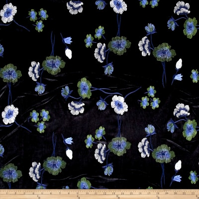 Telio Bouquet Knit Velvet Floral Embroidered Black/Blue