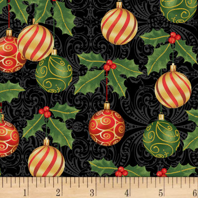 Deck The Halls Ornaments Metallic Black