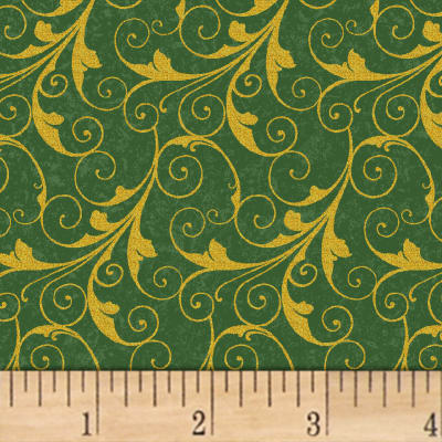 Deck The Halls Scrolls Metallic Green