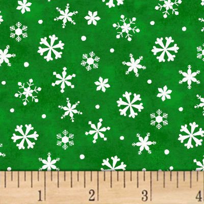Winter Wishes Snowflakes Green