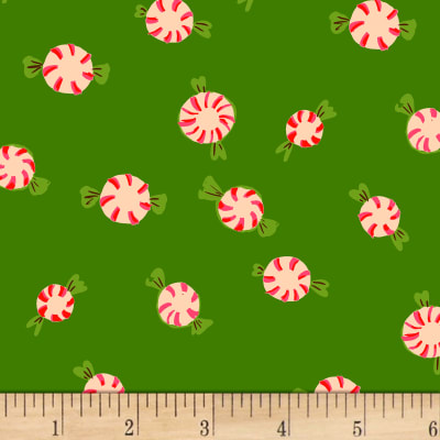 Sugarplum Peppermints Flannel Green