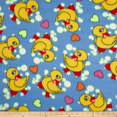 Polar Fleece Duck Bubbles & Heart Turquoise