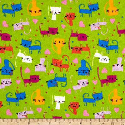 Printed Flannel Cute Kitty Lime