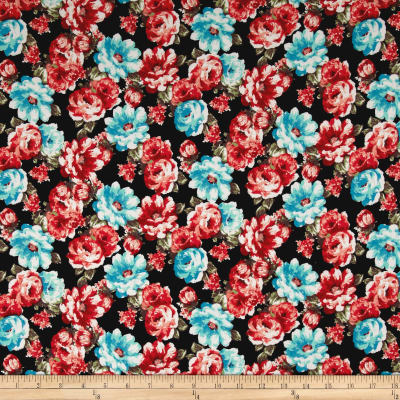 Double Brushed Jersey Knit Retro Allover Floral Aqua/Dark Orange