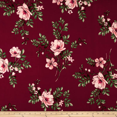 Double Brushed Jersey Knit Tropical Floral Pink on Wine