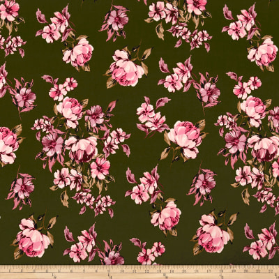 Double Brushed Jersey Knit Floral Pink on Olive