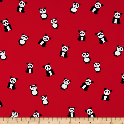 Double Brushed Jersey Knit Panda Red