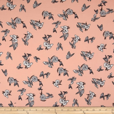 Double Brushed Jersey Knit Floral and Butterflies Dusty Peach