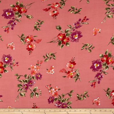 Double Brushed Jersey Knit English Floral Magenta on Coral