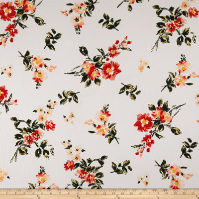 Double Brushed Jersey Knit English Floral Rust on Ivory