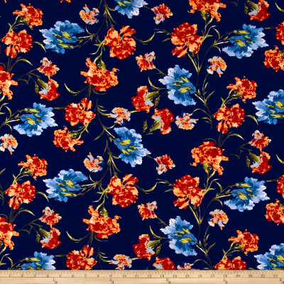 Double Brushed Jersey Knit Abstract Cloudy Floral Orange on Navy
