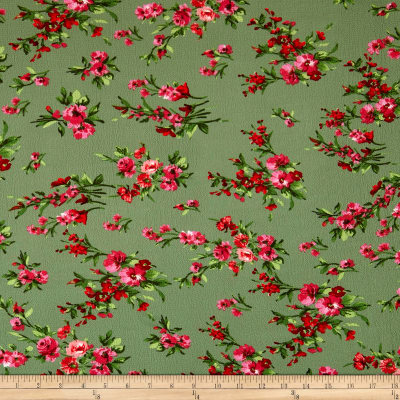 Bubble Crepe English Floral Pink/Red on Olive