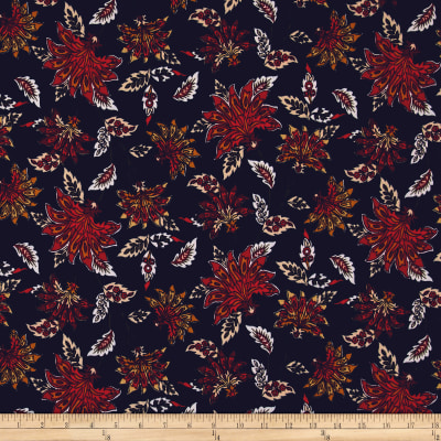 Bubble Crepe Abstract Floral Red/Orange on Navy