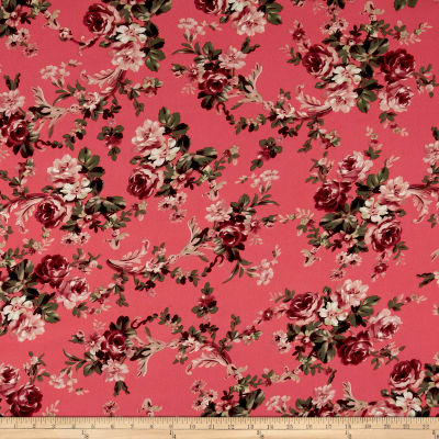 Bubble Crepe English Floral Mauve on Coral