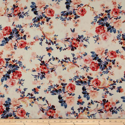 Bubble Crepe English Floral Coral on Ivory