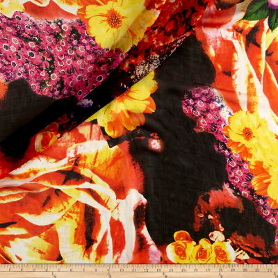 Silk Chiffon Multi Floral Pink/Orange