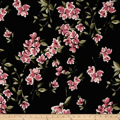 Double Brushed Poly Spandex Floral Mauve on Black