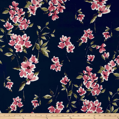 Double Brushed Poly Spandex Floral Mauve on Navy