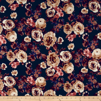 Double Brushed Poly Spandex Roses Brown on Navy