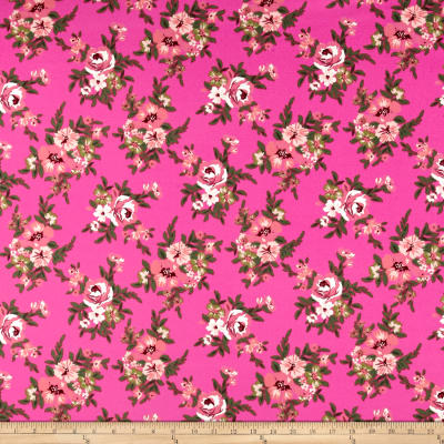 Liverpool Double Knit Floral Bloom Blush on Pink