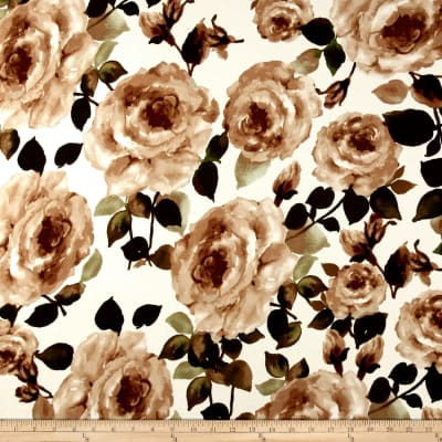 Liverpool Double Knit Roses Taupe on Ivory
