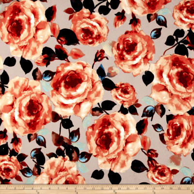 Liverpool Double Knit Roses Rust on Khaki