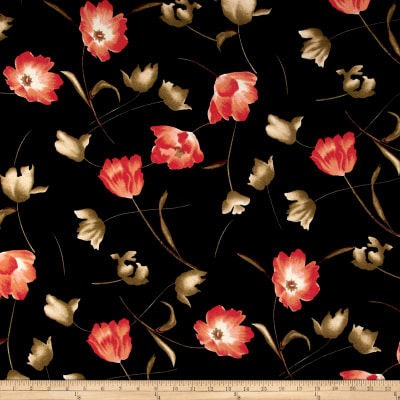 Liverpool Double Knit Floral Dark Coral on Black