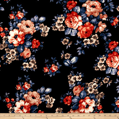 Liverpool Double Knit English Roses Rust on Black