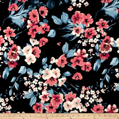Liverpool Double Knit Retro Floral Garden Blue/Coral on Black