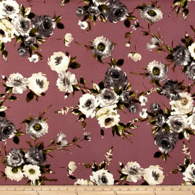 Liverpool Double Knit English Floral Bouquet Gray on Mauve