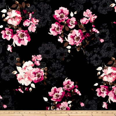 Liverpool Double Knit Luxurious Floral Pink/Black