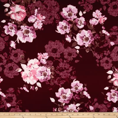 Techno Scuba Knit English Floral Pink on Wine
