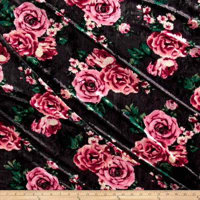 Stretch Crushed Velvet English Floral Coral on Gray