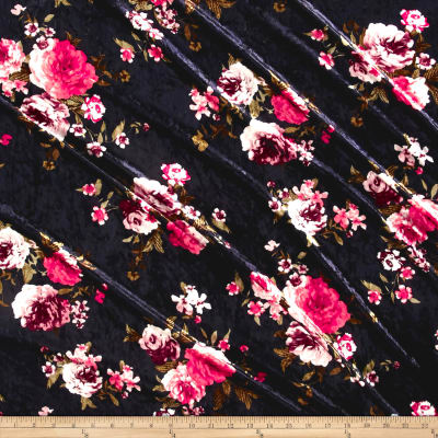 Stretch Crushed Velvet English Floral Coral/Mauve on Navy