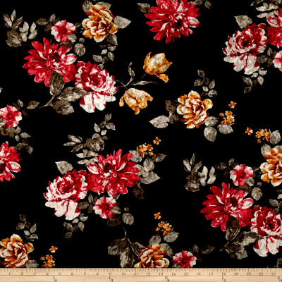 Stretch Crushed Velvet Floral Red/Mustard on Black