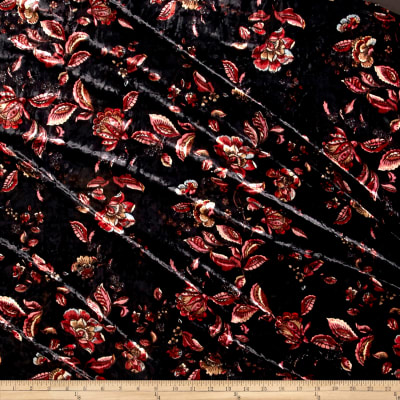 Stretch Crushed Velvet Abstract Floral Mauve/Rust on Black