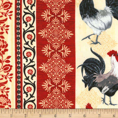 "Timeless Treasures Rise And Shine 11"" Rooster Stripe Taupe"