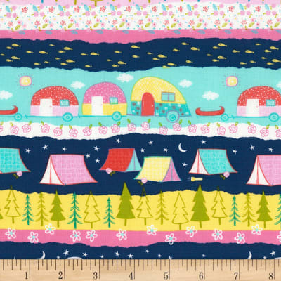 Timeless Treasures Happy Trails Camping Stripe Multi