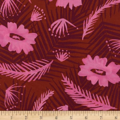 Cotton + Steel Rayon Challis Poolside Palm Springs Bouquet Pink
