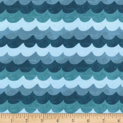 Cotton + Steel Rifle Paper Co Amalfi Waves Turquoise