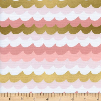 Cotton + Steel Rifle Paper Co Metallic Amalfi Waves Coral