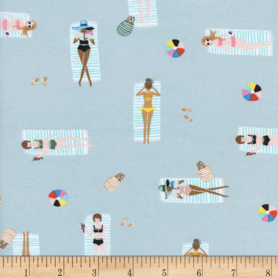 Cotton + Steel Rifle Paper Co Rayon Lawn Amalfi Sun Girls Sky