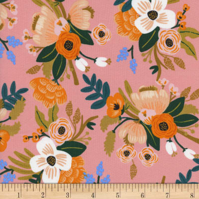 Cotton + Steel Rifle Paper Co Rayon Challis Amalfi Lively Floral Coral